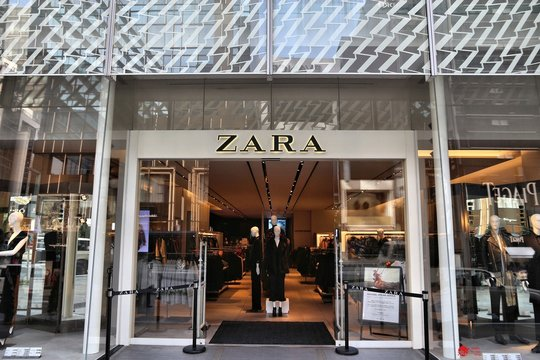 TOKYO, JAPAN - DECEMBER 1, 2016: Zara casual fashion store in Ginza district of Tokyo, Japan. Ginza is a legendary shopping area in Chuo Ward of Tokyo.