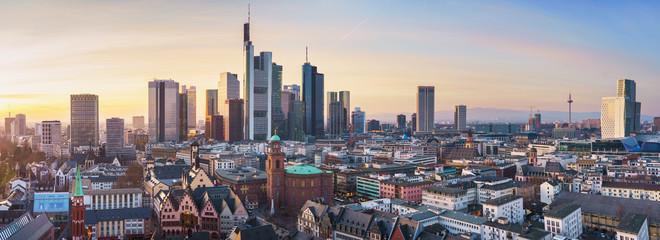 beautiful panorama of frankfurt am main in sunlight