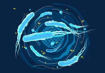 Vector illustration of rod-shaped bacteria and viruses, macroworld