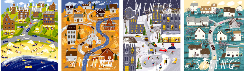 Nature. Set of posters for winter, spring, summer and autumn. Cute vector illustration of four seasons. Drawings of city, house, village, people, nature, trees, park and beach
