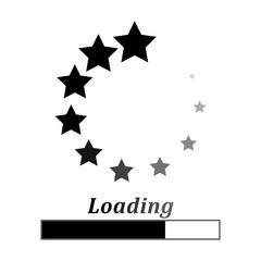 Loading circle black stars on a white background, vector