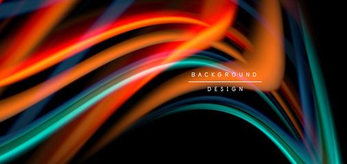In de dag Hoogte schaal Abstract silk smooth lines on black, multicolored liquid fluid rainbow style waves on black