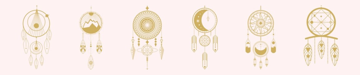 Vector set of dream hunters on a pink background. Trendy vector illustration.