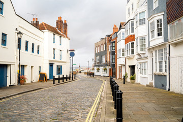 Empty street with historic housing, Old Portsmouth, England Fotomurales