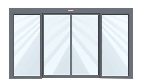Closed sliding door. vector