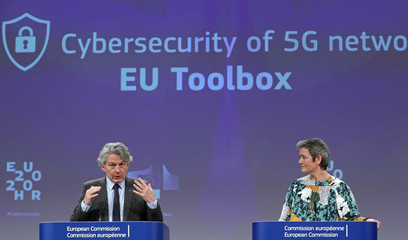 European Digital Economy Commissioner Vestager and European Commissioner for the Internal Market Breton communicate on the EU's 5G plan in Brussels