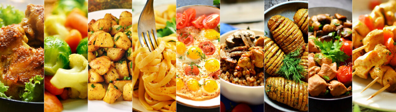 Varied food. Assortment of dishes from vegetables, meat and pasta. Delicious food made from chicken meat and vegetables.
