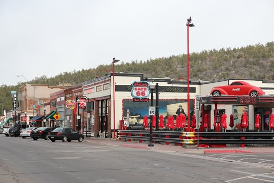 WILLIAMS, UNITED STATES - APRIL 2, 2014: Street view in historic town of Williams, Arizona. Williams is famous for its location on Route 66.