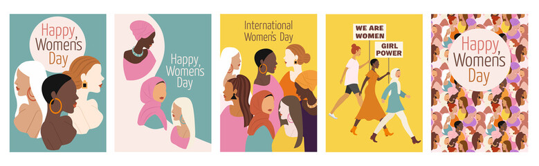 Collection of spring cards. International Women's Day. Vector illustration with women of different nationalities and cultures. The struggle for freedom, independence, equality.