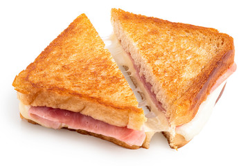Aluminium Prints Snack Cheese and ham toasted sandwich.