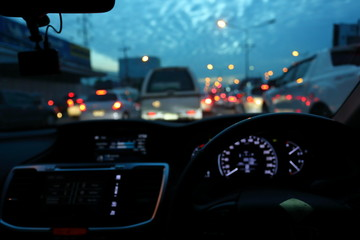 Fotomurales - light of traffic jam on night street, image blur urban road background
