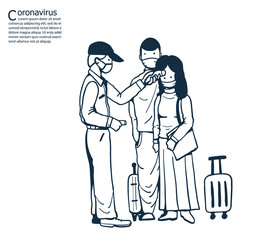Immigration officer using tool check tourists.Tourists wearing masks to help prevent the spread of a deadly coronavirus.illustration vector for coronavirus.