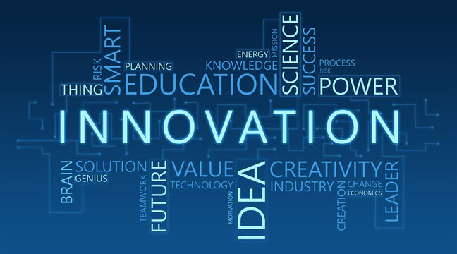 Innovation Wordcloud Illustration Of Innovative Future Technologies, Blue Background, Panorama