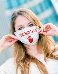 Woman wearing protective face mask against coronavirus epidemic
