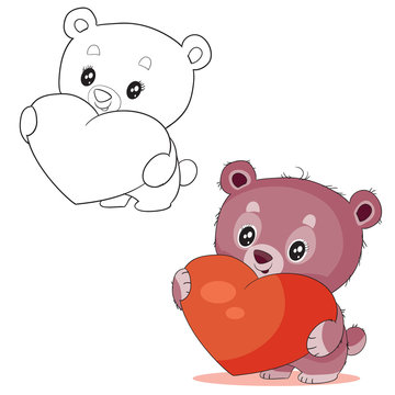 set of cute little bear hugs a big red heart in color and in outline and wants to give it for a holiday as a sign of love,
