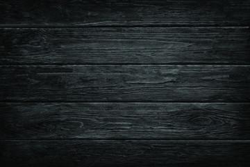 Wooden dark black retro shabby planks wall,table,floor texture banner background.Wood blackboard textured grunge desk photo mockup wallpaper design for decoration.Cafe,bakery,restaurant menu template.