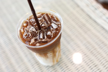 cold iced coffee drink in cafe