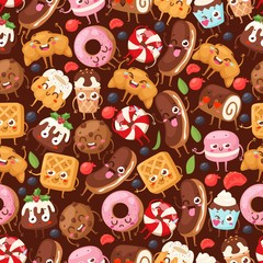 Bakery seamless pattern with funny cartoon characters vector illustration. Wrapping paper for desserts, sweet food mascot. Ice cream, croissant, donut, cake and cookie. Bakeshop pastry products cafe