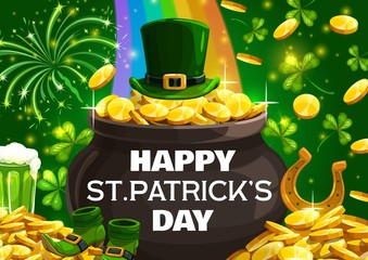 Happy Patricks day lettering on cauldron or pot full of golden coins. Vector leprechauns hat, rainbow and piles of gold. Shoes and horseshoe symbol of lucky fortune, shamrocks and fireworks