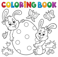 Poster For Kids Coloring book Easter egg and rabbits