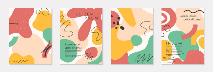 Set of modern colorful vector collages with hand drawn organic shapes and textures.Trendy contemporary design perfect for prints,flyers,banners,brochure,invitations,branding design,covers and more Fototapete