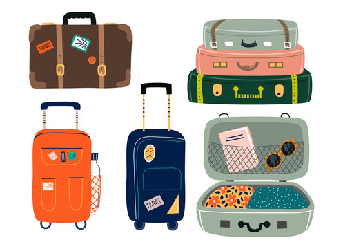 Set of Isolated Suitcases with wheels. Travel bags with various stickers.Hand drawn vector illustration in flat cartoon style.