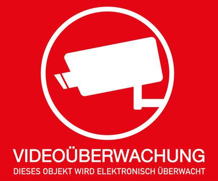 Symbol Videoüberwachung, rot, Druckvorlage zum Ausdrucken
