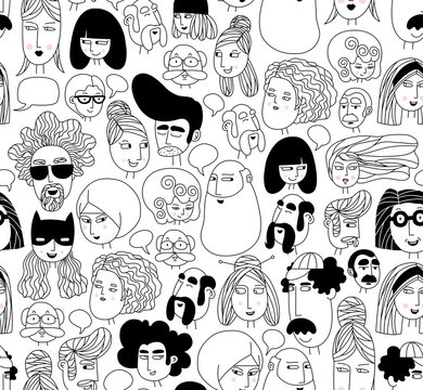 Hand drawn doodle set of people faces. Portraits of various men and women. Trendy black and white icons collection. Vector seamless pattern. Perfect for textile prints, wallpapers