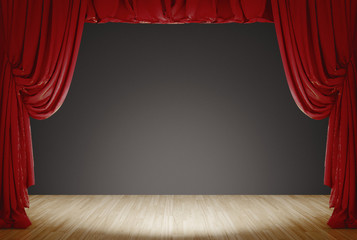 Bright Stage With Red Velvet Theater Curtains and grey Background. 3d rendering Fotomurales