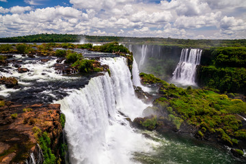 Beautiful view at Iguazu falls. One of the new seven wonders of nature. Traveling South America