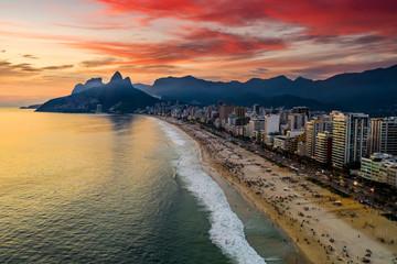 Beautiful panorama of Rio de Janeiro at twilight, Brazil. Aerial view of Ipanema beach at sunset. Rio de Janeiro