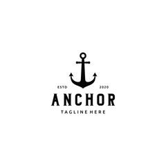 Simple Silhouette Art Anchor Boat Ship Nautical logo design vector
