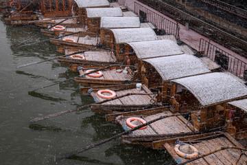 Snowfall in an ancient chinese city Zhujiajiao, Shangha, China