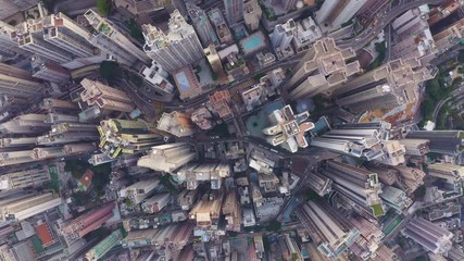 Fototapete - Aerial view of cityscape at Hong Kong in China