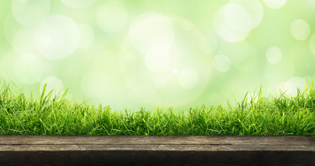 A fresh spring sunny garden background of green grass and blurred foliage bokeh with a wooden table to place cut out products on. Wall mural