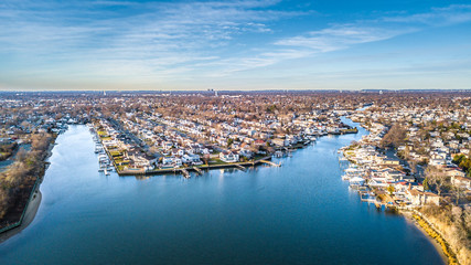 Aerial South Shore Long Island During Sunset Fotomurales