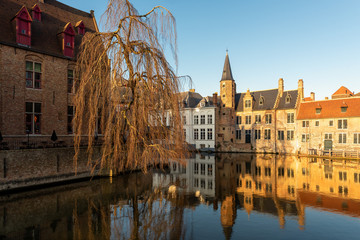Bruges, Belgium, ancient houses on the canals