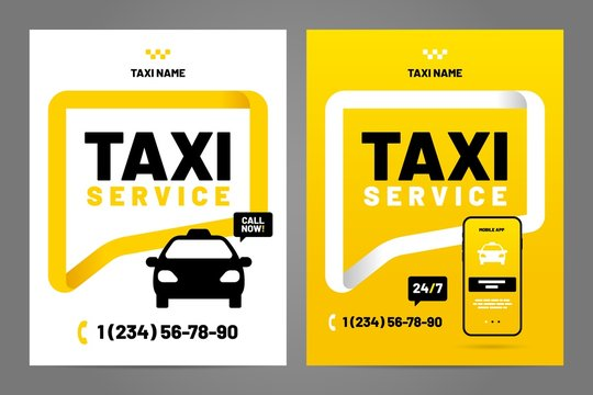 Vector layout design template for taxi service.