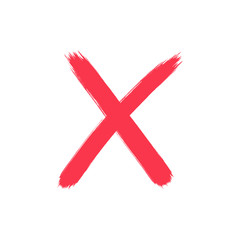 Red cross mark drawn grunge x in vector
