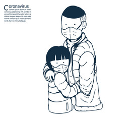 Brother and sister wearing masks to help prevent the spread of a deadly coronavirus.illustration vector for coronavirus.
