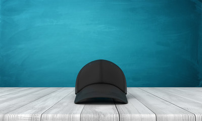 3d front rendering of black baseball cap on wooden floor near blue wall with copy space. Wall mural