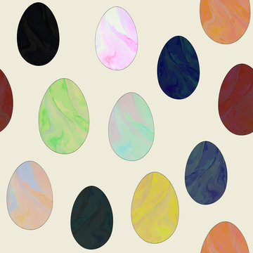 Female healthcare campaign flat vector seamless pattern. Jade yoni eggs background