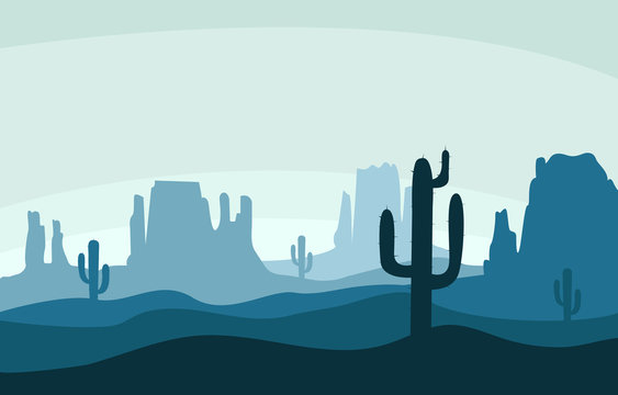 Desert sand landscape with mountains and cactus silhouette on the wild west texas blue color in flat cartoon style
