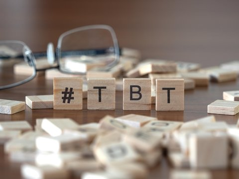 #tbt concept represented by wooden letter tiles