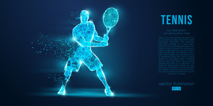 Abstract silhouette of a tennis player man, male, women, girl female from particles, lines, triangles. Tennis ball and tennis racket. Low poly neon wire outline geometric polygonal vector illustration