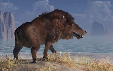 Andrewsarchus, an extinct creature of the Eocene period, was possibly the largest carnivorous land mammal ever, known only from a single fossil skull found in Mongolia. 3D Rendering Wall mural