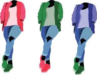 manichini di colore diverso vestiti giovani alla moda