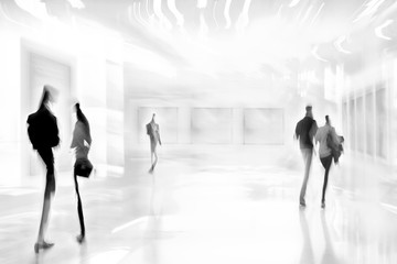 people in the art gallery center in monochrome blue tonality