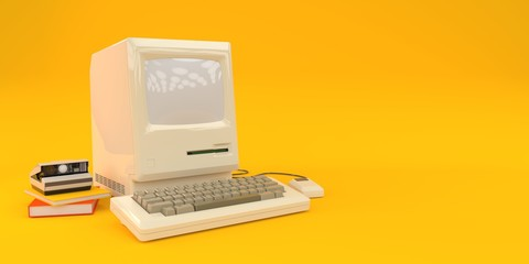 Old computer on yellow background 3d render