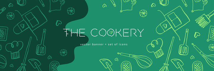 Cooking banners with hand drawing linear illustrations for restaurant. Cooking courses banner. Cooking utensils vector. Vector templates for bakery shop background.
